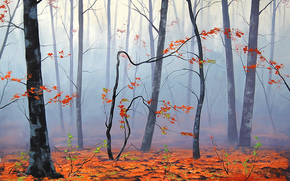 艺术, 性质, 树, 秋天, 叶子, 雾
