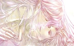 Эльф, эльфийка, двое, влюбленные, девушка, парень, розовый