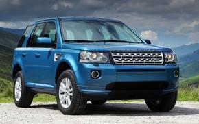 Лэнд Ровер, Фрилендер, джип, кроссовер, синий.передок, горы, небо, Land Rover