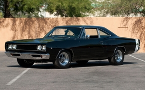 Dodge, supercharger, Great Bay, Black, front, classic, muscle car, wall, background, Dodge