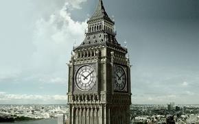 город, Лондон, Британия, Биг-Бен, часы, башня