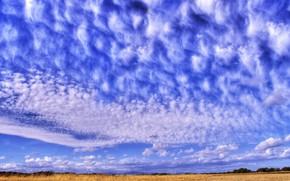 перистые облака, небо, синий