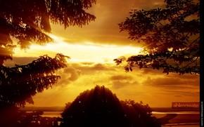 восход, солнце, небо, свет