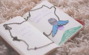 настроения, блокнот, книжка, дневник, надписи, крылья, ангел, девочка, цепочка, цепь, фон, обои, для рабочего стола