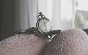 настроения, часы, циферблат, время, цепочка, римские цифры, ноги, колготки, фон, обои, полноэкранные