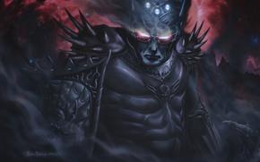 Warrior, armor, spikes, burning eyes, Star, fog