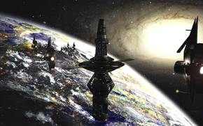 Docking-Station, Science-Fiction, Raum, Galaxis, stars, Planet, Schiffe, Science-Fiction, Zukunft, futuristischen Landschaft, Orbitalkomplex, Station, Schiffe, Planet, Stern, Galaxis, Raum