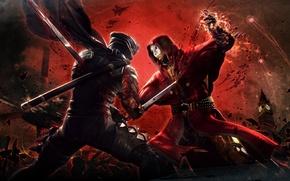 ninja gaiden, бой, кровь, катана, big ben
