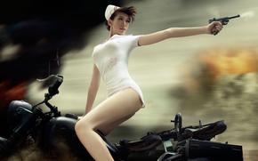 infermiera, Giapponese, motocicletta, pistola, colpo, inseguimento, situazione