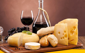 wine, red, goblet, cheese, Camembert, Emmental, bread, loaves, grapes, pepper
