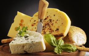 сыр, горгонзола, хлеб, зелень, нож