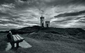 маяк, море, скамья, пейзаж