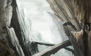 арт, горы, скалы, мост, человек, колонны