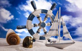 sabbia, volante, bussola, nautilo, conchiglia, cielo, nuvole