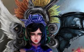 Art, girl, wings, angel, daemon, eyes