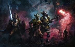 арт, войны, исследование, поход, оружие, черепа, посох, меч, алебарда, жуть, клетки