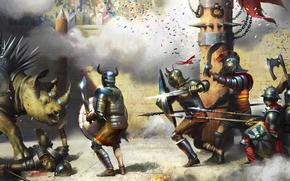 Art, battle, dinosaur, Gladiators, weapon, Armor, stadium, shield, sword, column, corpse