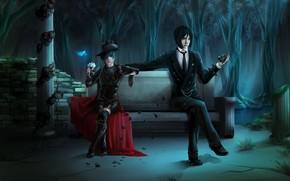 арт, темный дворецкий, себастьян микаэлис, демон, сиэль фантомхайв, мальчик, парень, лавочка, роза, бабочка, лепестки, колонна, лиана, череп