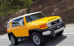 Toyota, EfDzhey, Cruiser, Land Cruiser, SUV, Japan, yellow, Australian version, Australia, road, rate, toyota
