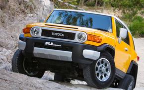 Toyota, EfDzhey, Cruiser, machine, wheelbarrow, SUV, yellow, Japan, Australian version, Australia, stones, nature, toyota