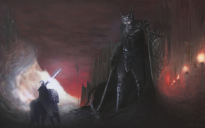 knight, giant, armor, weapon, fortress, Wall, Skeletons, Torches, duel
