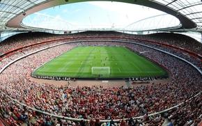 Emirates, stadium, field, podium, fans, arsenal, Football Club, Gunners, sky