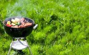 sfondo, verde, erba, picnic, barbecue, natura, riposo