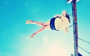 ситуации, девушка, качели, брюнетка, цепь, цепочка, небо, полет, прыжок, облака, фон, обои