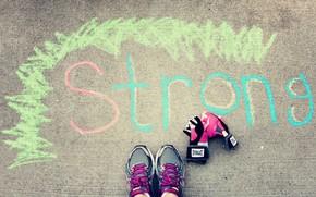 Mood, asphalt, land, Crayons, chalk, color, picture, inscription, strong, sneakers, Sport, gloves, background, wallpaper
