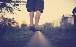 situation, situation, step, feet, man, man, guy, boy, pipe, Rails, grass, greens, background, wallpaper, danger