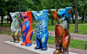 Street, park, Sculpture, color, Bears