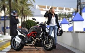 Ducati, Diavel, motocicletta, Bicicletta, ragazza, biondo, sfondo, motocicli