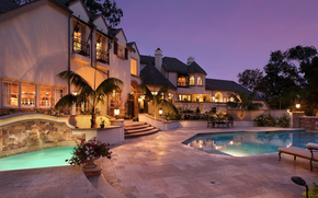 home, Tower, architecture, evening, pool, clarification, Palms, nature, fountain, furniture