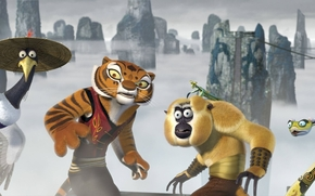 Kung Fu Panda, Cinque Cicloni, gru, tigre, scimmia, mantide, serpente, sfondo
