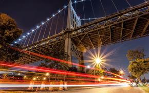 Ciudad, noche, puente, calle, luces