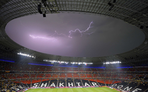 stadium, Donbass Arena, Donetsk, miner, football, lightning
