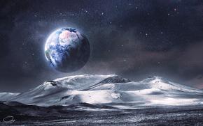 Arte, luna, terra, superficie, sollievo, Montagne, vista, spazio, Stella