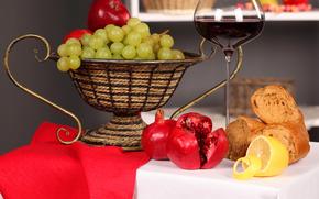 mesa, mantel, servilleta, florero, fruta, uvas, limn, Granadas, pan, vino, copa, rojo, reflexin