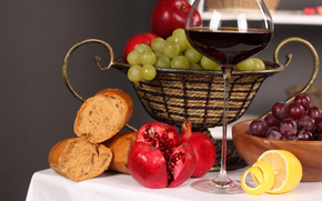 table, tablecloth, plate, vase, fruit, grapes, lemon, Grenades, bread, wine, goblet, red, reflection