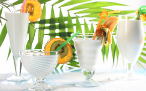 glasses, Cocktails, tubules, fruit, slices, leaves, kiwi, orange, banana