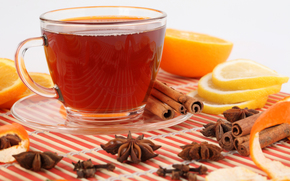 saucer, cup, tea, drink, reflection, star anise, cinnamon, peel, lemon, orange, slices
