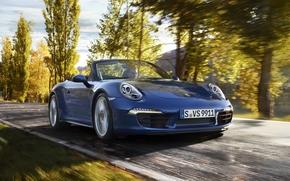 car, wallpaper, rate, Porsche, Carrera, Cabriolet, road, Trees, foliage, autumn, machine, rides, porsche