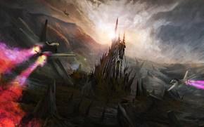 艺术, 飞机, 战士, 攻击, 攻击, 山, 城堡, 塔, 堡垒, 岩石, 太阳