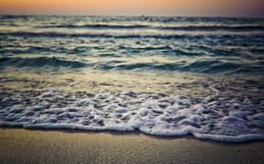mare, costa, sabbia, orizzonte, onda, schiuma