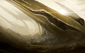 Планета, скалы, светило, космические корабли, гуманоид