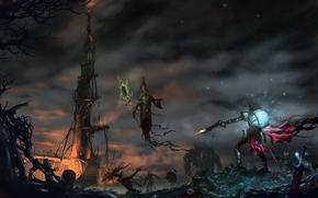 Undead, necromancer, Warrior, weapon, shot, scope, remains, tombstones, tower
