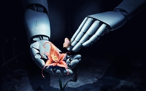 Art, robot, hands, butterfly, flower
