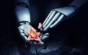 Art, robot, mains, papillon, fleur