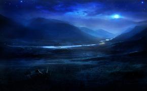 艺术, 夜, 性质, 丘陵, 河, 月亮, 明星