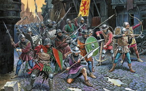 castle, crossbow, bolt, pipe, commander, shield, spear